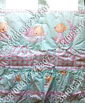 Карман органайзер 65х60 см для аксессуаров на детскую кроватку, салатовые расцветки, фото 3