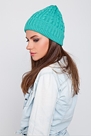 Красивая вязаная шапка, цвет морской волны, фото 1