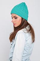 Красивая вязаная шапка, цвет морской волны