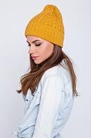 Красивая вязаная шапка, цвет горчичный