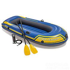 Двухместная надувная лодка Intex 68367 Challenger 2 Set, 236 х 114 см, с веслами и насосом