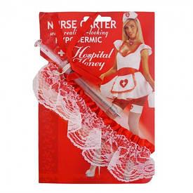 Подвязка для ролевых игр медстеста и шприц