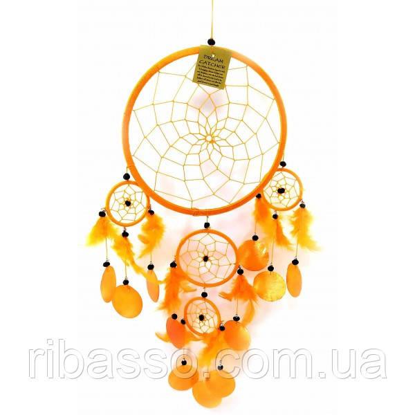 Ловець снів з черепашками помаранчевий (d-22 см h-60 см) ( 32660A)