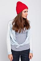 Красивая вязаная шапка, цвет красный