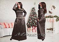 Женское нарядное трикотажное платье MAXI с выбитым узором / батал / коричневое