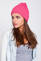 Красивая вязаная шапка, цвет розовый