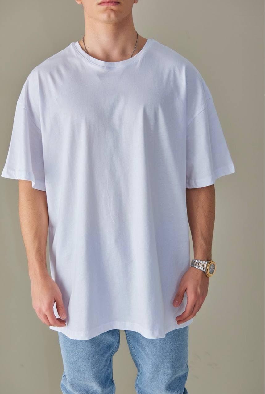 Базовая футболка оверсайз мужская белая без принта / рисунка