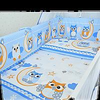 """Комплект детского постельного белья (детская постель в кроватку) """"Сова"""": наволочка, простынь, пододельник"""