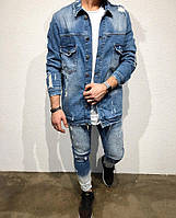 Мужская джинсовая куртка рваная синяя на пуговицах Турция, джинсовка молодежная рваная удлиненная оверсайз