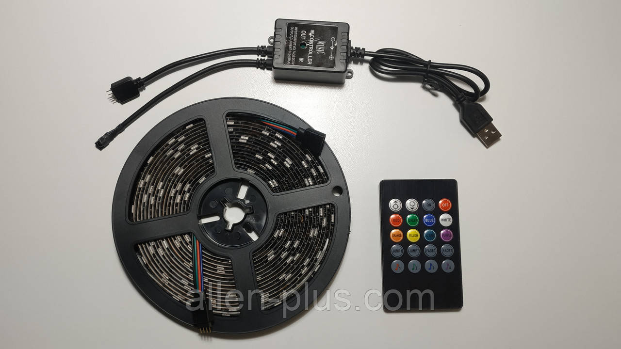 Светодиодная лента RGB с пультом, USB, 5м (5V/5050/RGB)(7373)