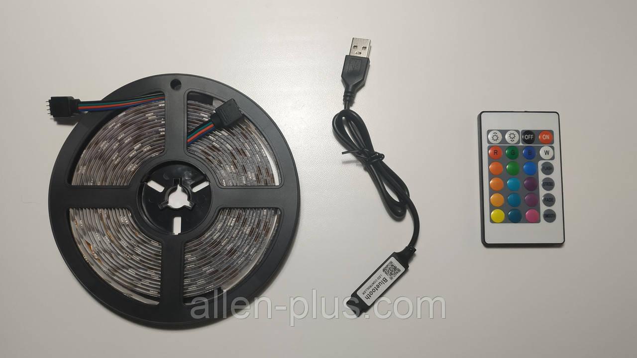 Светодиодная лента RGB с пультом и Bluetooth, USB, 5м (5V/5050/RGB)(7680)