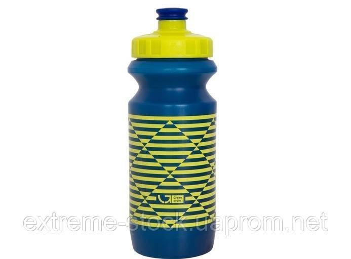 Фляга 0,6 Green Cycle STRIPES с большим соском, blue nipple/ yellow cap/ blue bottle