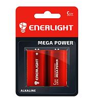 Батарейка ENERLIGHT MEGA POWER C (міні Бочка) АЛКАЛАЙН (БЛІСТЕР) 2 шт./бл 4823093503380