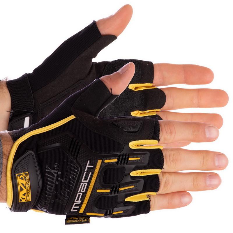 Перчатки тактические с открытыми пальцами MECHANIX BC-5628, M Черно-желтый