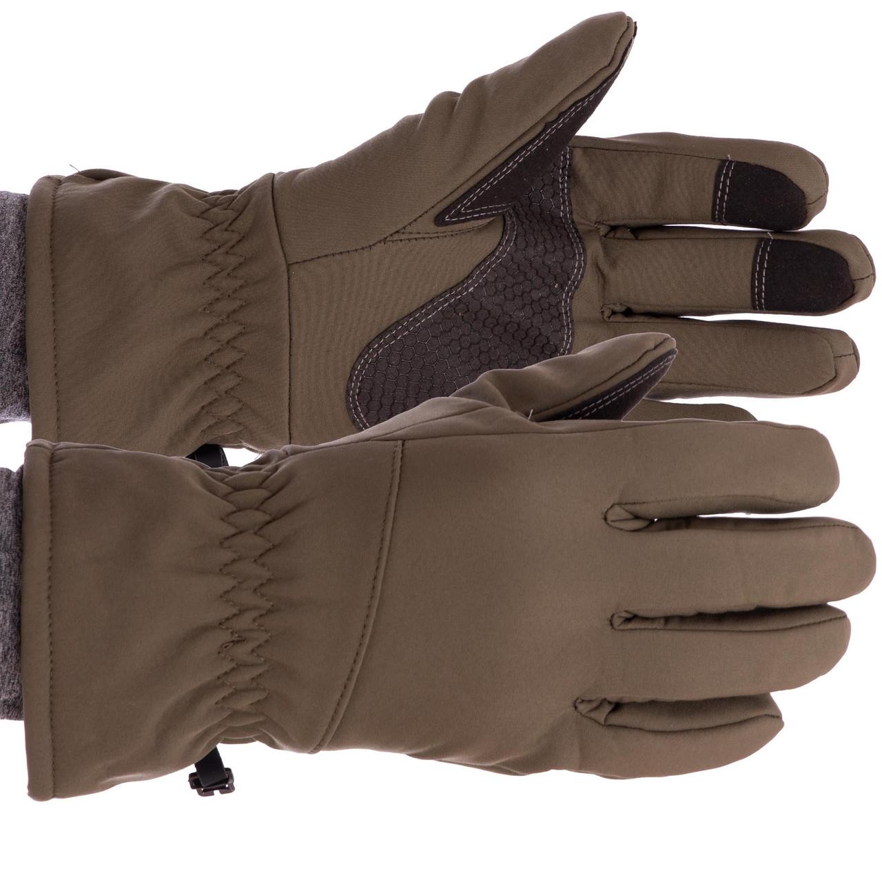 Перчатки туристические для охоты и рыбалки теплые флисовые TY-0355, L Оливковый