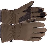 Рукавички туристичні для полювання та риболовлі теплі флісові TY-0355, L Оливковий