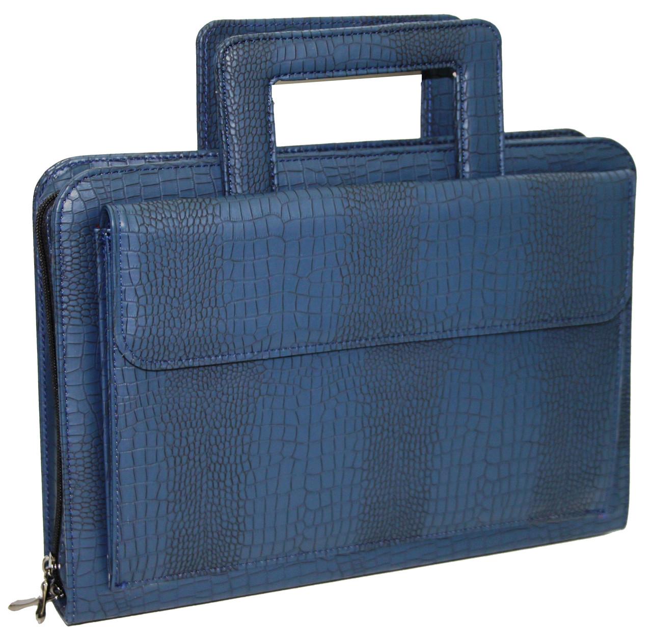 Портфель, папка из эко кожи под крокодила Portfolio Portak-15 синяя
