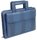 Портфель, папка из эко кожи под крокодила Portfolio Portak-15 синяя, фото 2