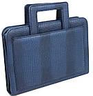 Портфель, папка из эко кожи под крокодила Portfolio Portak-15 синяя, фото 3