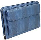 Портфель, папка из эко кожи под крокодила Portfolio Portak-15 синяя, фото 4
