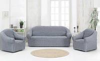 Чехлы на Диван и 2 Кресла без Оборки Универсальный Размер Набор 216, фото 1