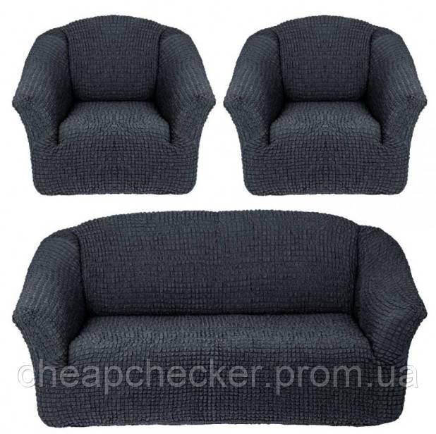 Чехлы на Диван и 2 Кресла без Оборки Универсальный Размер Набор 229