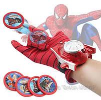 Игровой набор Перчатка Человека-Паука с дискометом и пластиковыми дисками (4 штуки) - Spider-Man Launches