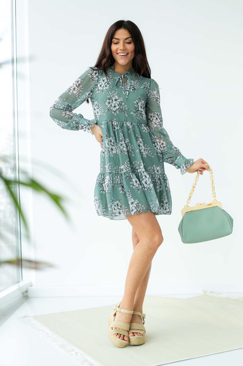 Шифоновое платье с завязками и рюшами Sensation Life  - мятный цвет, 42р (есть размеры)