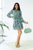 Шифоновое платье с завязками и рюшами Sensation Life  - мятный цвет, 42р (есть размеры), фото 1