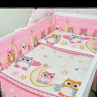 Набор в детскую кроватку из 6 предметов: постель, мягкие бортики, большое одело 140х100,подушка,100% хлопок Для девечек, Розовый