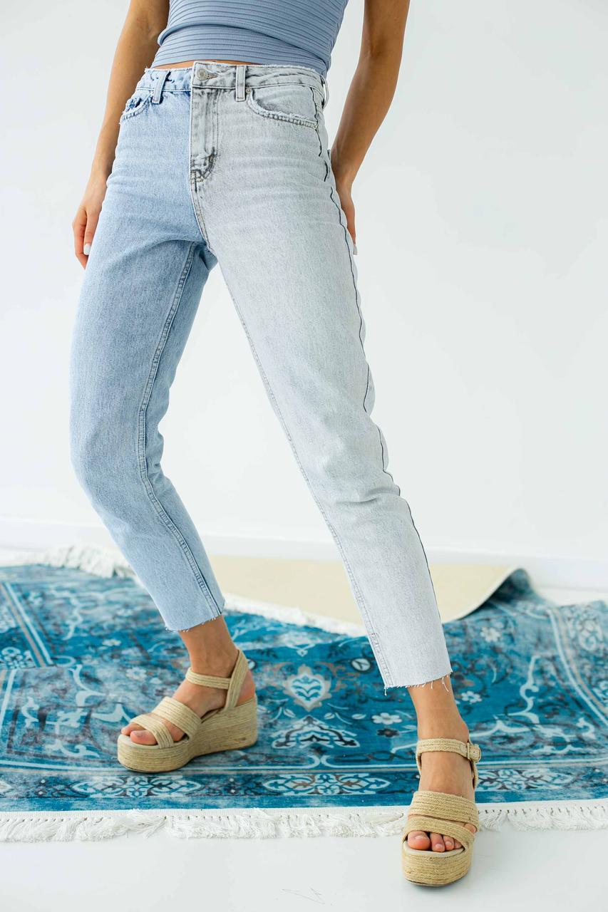 Двоколірні джинси з високою посадкою FAF - блакитний колір, 38р (є розміри) 40