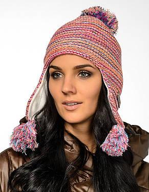 Жіноча модна молодіжна в'язана шапка з бумбоном на флісі, Польща., фото 2