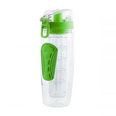 Бутылка для воды с отсеком для фруктов, зеленая