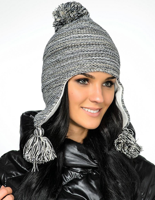 Женская модная стильная вязанная шапка с бумбоном Starling Польша..