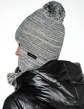 Женская модная стильная вязанная шапка с бумбоном Starling Польша.., фото 2