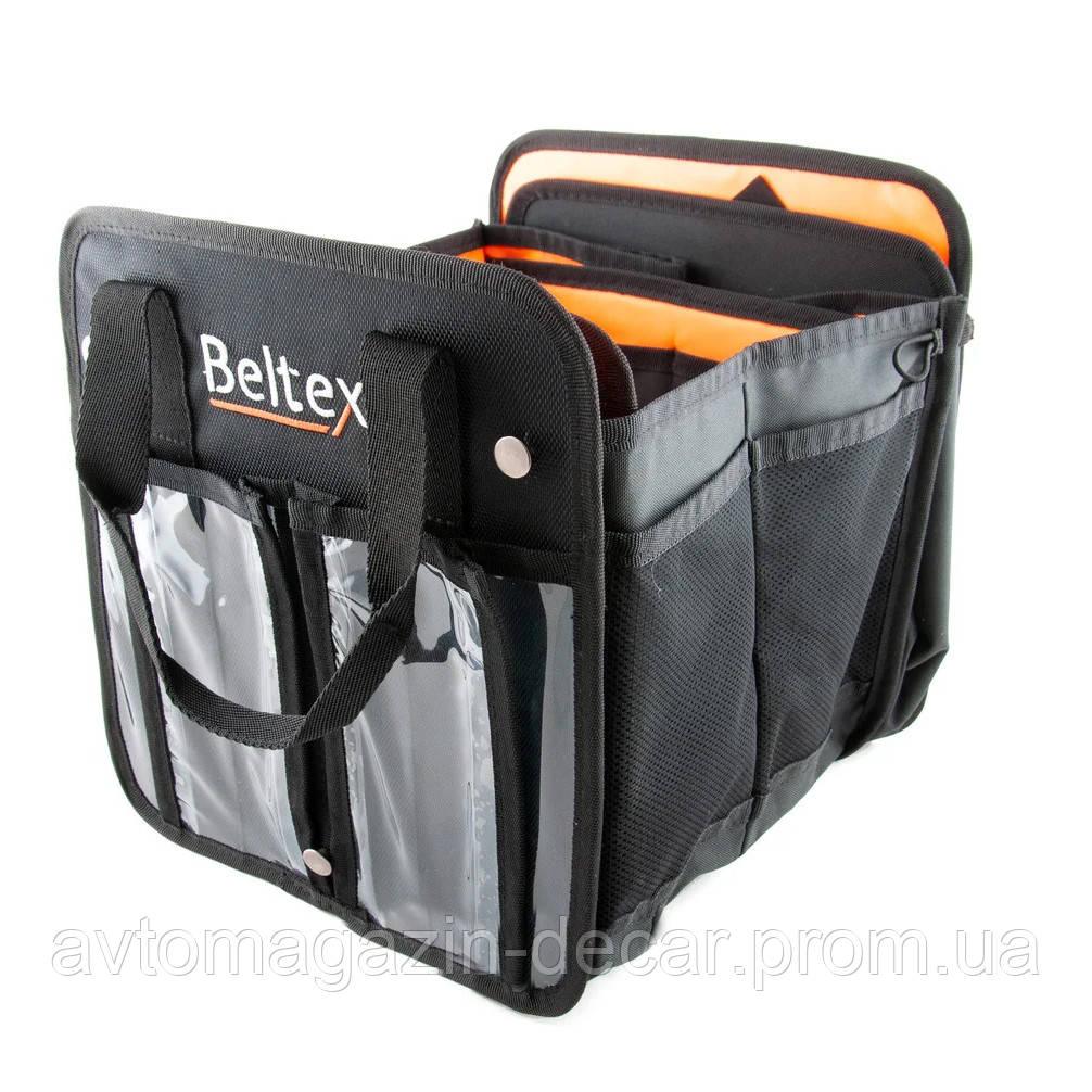 """Сумка в багажник тканина 520х260х280мм (S) чорна тканина PVC (трансформер) """"Beltex"""""""