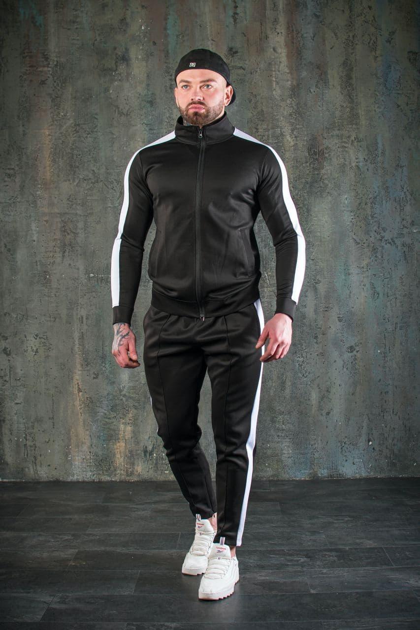 Костюм мужской спортивный черный. Стильный мужской спортивный костюм (олимпийка + штаны) черного цвета.