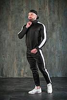 Костюм мужской спортивный черный. Стильный мужской спортивный костюм (олимпийка + штаны) черного цвета., фото 3