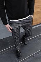 Брюки мужские классические повседневные в полоску. Стильные мужские черные штаны полосатые., фото 3