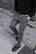 Брюки мужские классические повседневные в полоску. Стильные мужские черные штаны полосатые., фото 2