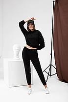 Костюм женский (укороченное худи + штаны с высокой посадкой) черный. Стильный женский костюм черного цвета., фото 3