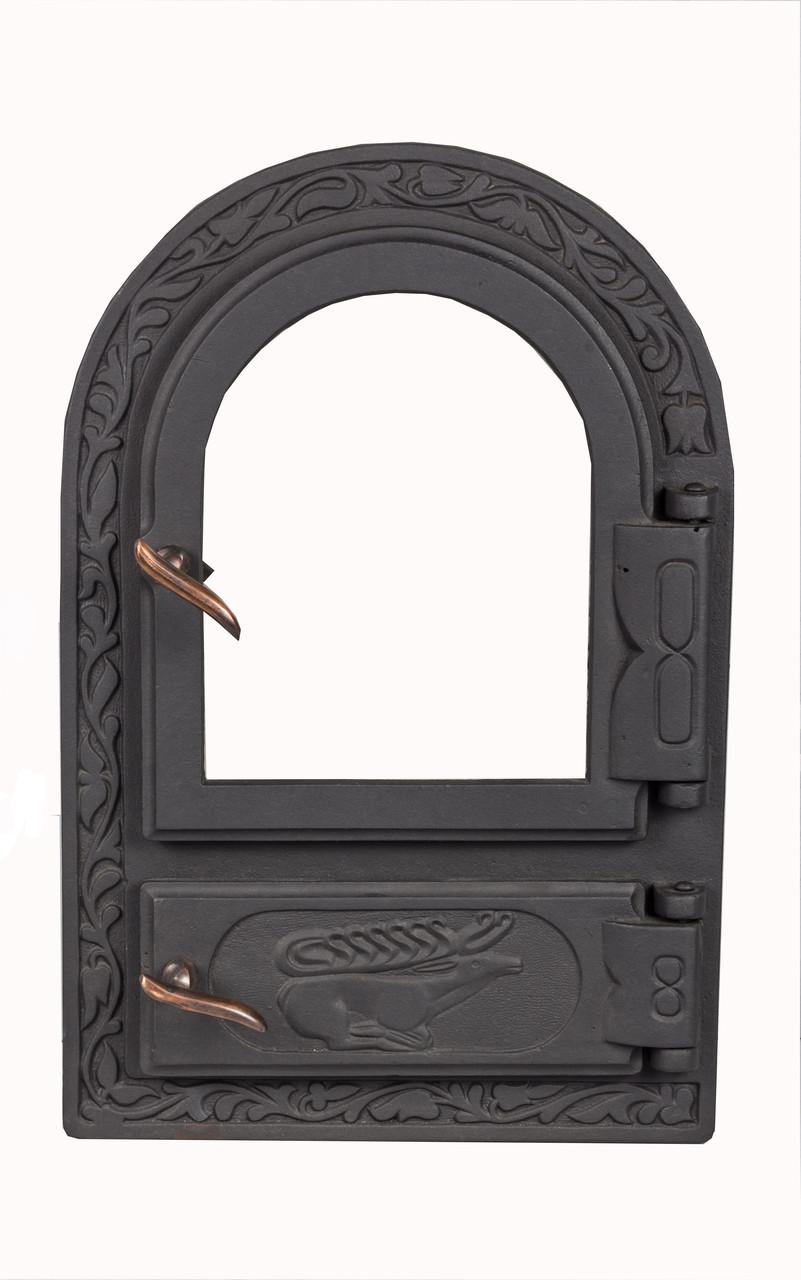 Чугунная печная дверца со стеклом - VVK 33 х 50,5 см/ 25х42см
