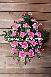 Искусственные цветы - Азалия с папоротником композиция, 57 см