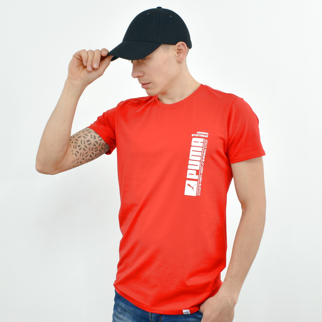 Чоловіча футболка з накаткою Puma (репліка) червоний
