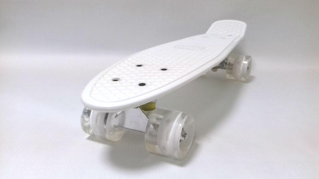 Білий пенні борд світяться колеса, до 80 кг