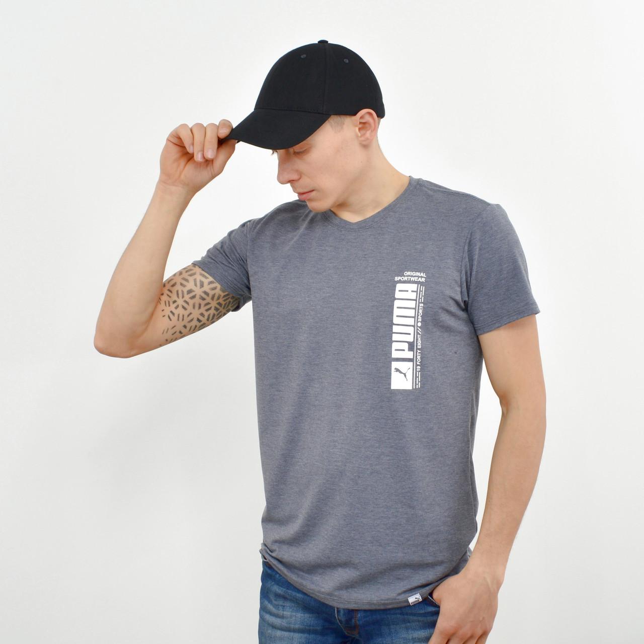Мужская футболка с накаткой Puma (реплика) серый