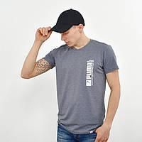 Мужская футболка с накаткой Puma (реплика) серый, фото 1