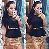 Костюм с поясом юбка+баска, фото 2