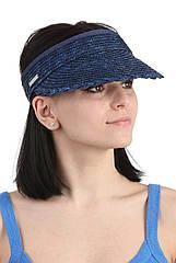 Козырек летний женский соломенный синий
