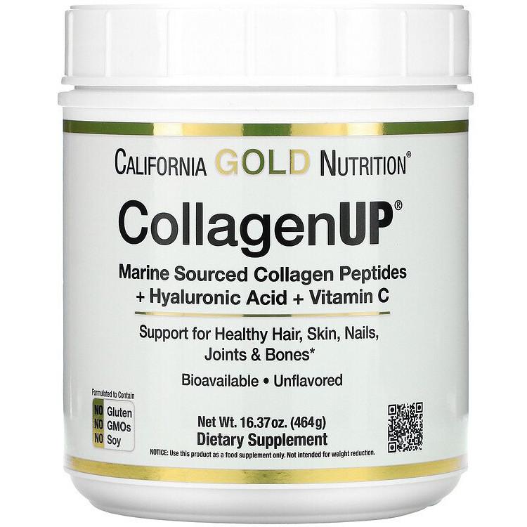 "Морський колаген-пептид California GOLD Nutrition ""CollagenUP"" з гиалуронкой і вітаміном C, 5000 мг (464 г)"